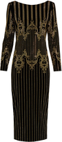 Balmain Stud-embellished velvet midi dress