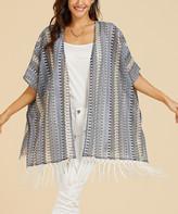 Suzanne Betro Weekend Women's Kimono Cardigans 101DENIN - Denim Blue Geometric Stripe Fringe-Trim Kimono - Women