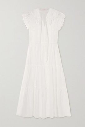 See by Chloe Lace-trimmed Tiered Cotton-voile Midi Dress - White