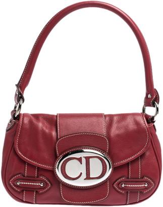 Christian Dior Red Leather Shoulder Bag