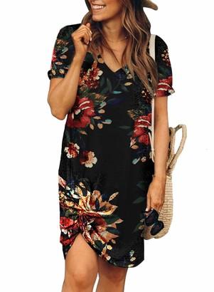 Actloe Women Short Sleeve Floral Printed Side Tie Dress Above Knee P-Black Large