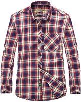 Tanming Men's Long Sleeve 100% Cotton Check T-Shirt