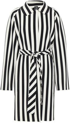 Norma Kamali Belted Striped Stretch-jersey Coat