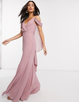 Goddiva cold shoulder v neck maxi dress in pink