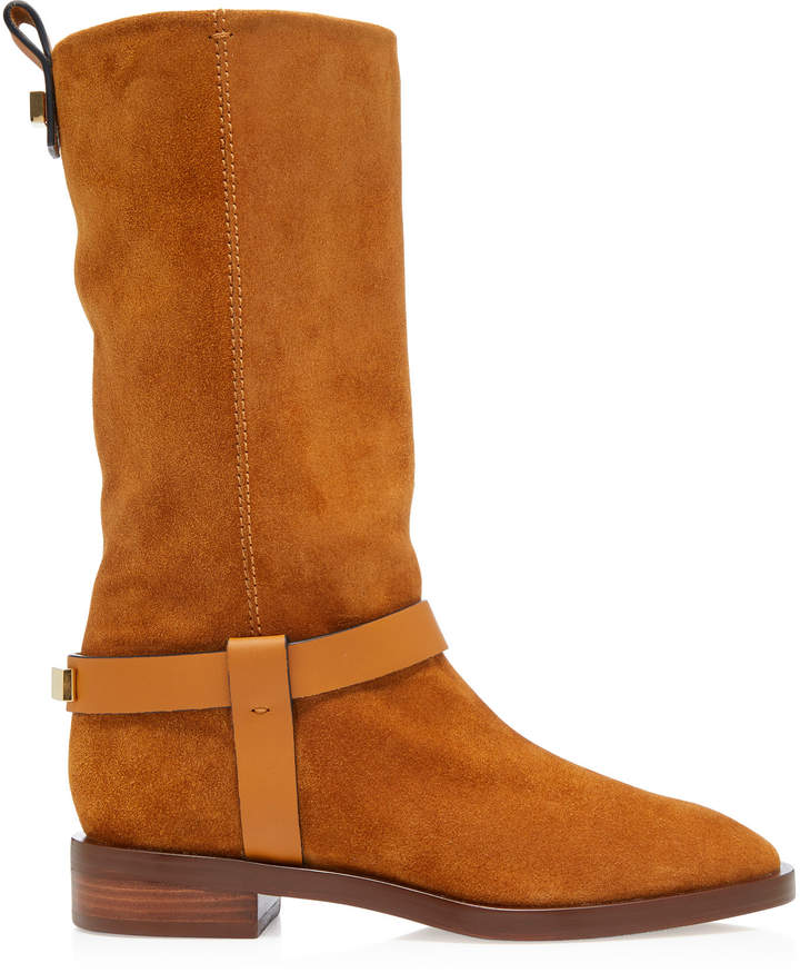Stuart Weitzman Casey Leather-Trimmed Suede Boots