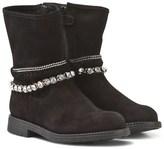 Stuart Weitzman Black Suede and Diamante Ankle Boots