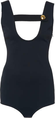 Prada Button-Detailed Stretch-Jersey Bodysuit Size: 46