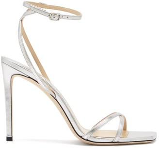Jimmy Choo Metz 100 Ankle-strap Metallic Leather Sandals - Silver
