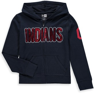 New Era Girls Youth 5th & Ocean by Navy Cleveland Indians Brushed Sweater Knit Tri-Blend Full-Zip Hoodie