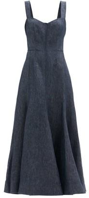 Gabriela Hearst Virginia Sweetheart-neck Linen-denim Dress - Denim