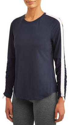 Avia Women's Active Performance Crewneck Ruched Long Sleeve T-Shirt
