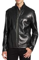 Cole Haan Smooth Leather Moto Jacket