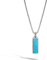 John Hardy Men's Classic Chain Dog Tag Pendant, Sterling Silver with Silver Calcite