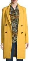 Lafayette 148 New York Gianna Double-Breasted Wool-Blend Coat, Mustard