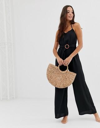 Fashion Union coriander beach jumpsuit in black