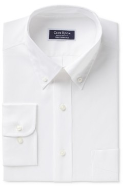 Club Room Men's Classic/Regular Fit Performance Wrinkle Resistant White Pinpoint Solid Dress Shirt, Created for Macy's