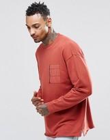 Asos Oversized Sweatshirt With Woven Chest Zip Pocket