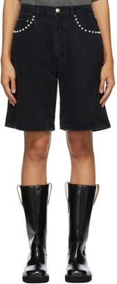 we11done Black Denim Pearl Shorts