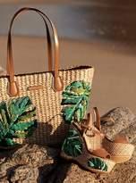 MICHAEL Michael Kors Malibu Palm Embroidered Woven Straw Tote