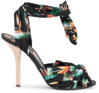 Dolce & Gabbana Floral Silk & Raffia Ankle-Bow Sandals