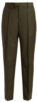 Bottega Veneta Tapered Crepe Trousers - Womens - Dark Green
