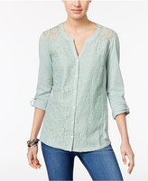 Style&Co. Style & Co Lace Roll-Tab Top, Only at Macy's