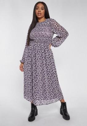 Missguided Plus Size Purple Floral Shirred Frill Cuff Midi Smock Dress