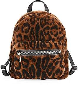 The Fur Salon Women's Julia & Stella For The Fur Salon Leopard-Print Shearling Backpack