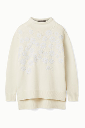 Lela Rose Beaded Embroidered Wool And Cashmere-blend Sweater - Ivory