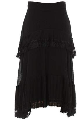 Zimmermann Lace Effect Pleated Midi Skirt