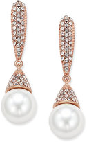 INC International Concepts Rose Gold-Tone Imitation Pearl and Pavé Drop Earrings, Only at Macy's