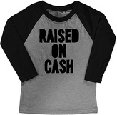 Micro Me White & Black 'Raised On Cash' Raglan Tee - Toddler & Boys