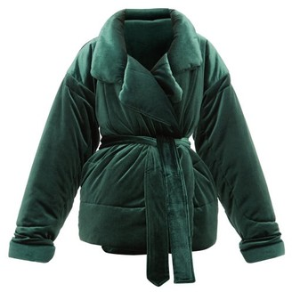 Norma Kamali Sleeping Bag Padded Velvet Coat - Dark Green