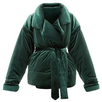 Norma Kamali Sleeping Bag Padded Velvet Coat - Womens - Dark Green
