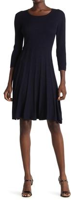 Nina Leonard Pleated Scoop Neck Dress