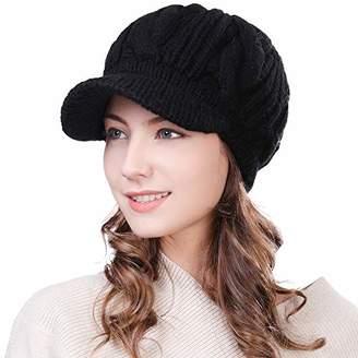 Jeff & Aimy 100% Merino Wool Knit Beret Newsboy Hat Cap for Women Visor Beanies Winter Ski Hat with Peak Ear Warmer Strechable Black Cotton Lined 56-59CM