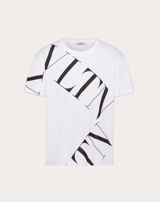 Valentino T-shirt With Vltn Macrogrid Man White/ Black Cotton 100% S