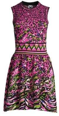 M Missoni Women's Leopard Knit Flare Dress - Turquoise Leopard - Size 36 (0)