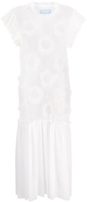 Viktor & Rolf Floral Applique Detail Sheer Panel Dress