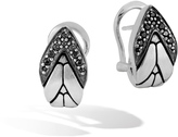 John Hardy Women's Modern Chain Buddha Belly Earring in Brushed Sterling Silver, Black Spinel