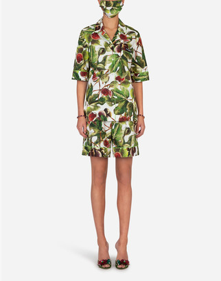 Dolce & Gabbana Fig-Print Pajama Set With Matching Face Mask