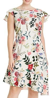 Adrianna Papell Plus Parisian Garden Flounce Dress
