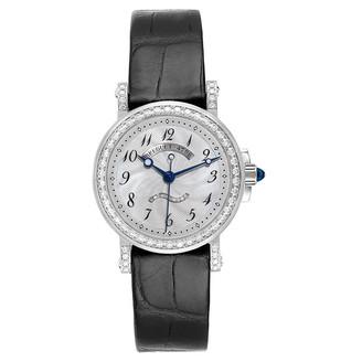 Breguet MOP Diamonds Pave 18K White Gold And Saphhire Marine Classique 8818 Women's Wristwatch 30 MM
