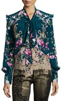 Roberto Cavalli Long-Sleeve Floral-Print Chiffon Blouse, Teal