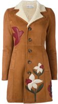 RED Valentino flower patch shearling coat