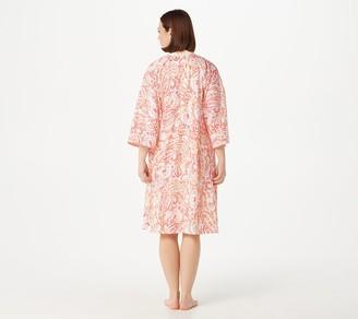 Carole Hochman Cotton Button Front Kimono and Chemise Set