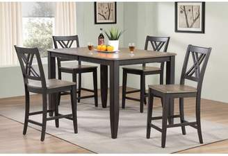 """Red Barrel Studio Mtmere 5 Piece Extendable Solid Wood Dining Set Red Barrel Studio Table Top Color: Gray Stone, Table Base Color: Black Stone, Size: 40"""" H x 78"""" L x 60"""