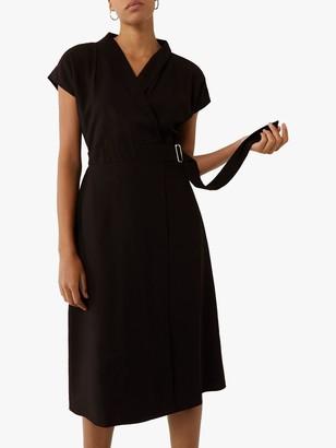 Warehouse Twill Wrap Dress, Black