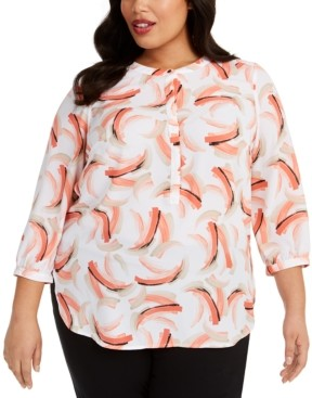 JM Collection Plus Size Printed Pleated-Back Top, Created for Macy's