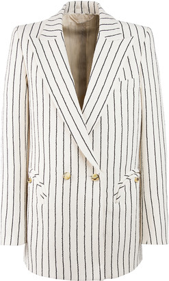 BLAZÉ MILANO Roanoke Pinstriped Cotton-Blend Double-Breasted Blazer